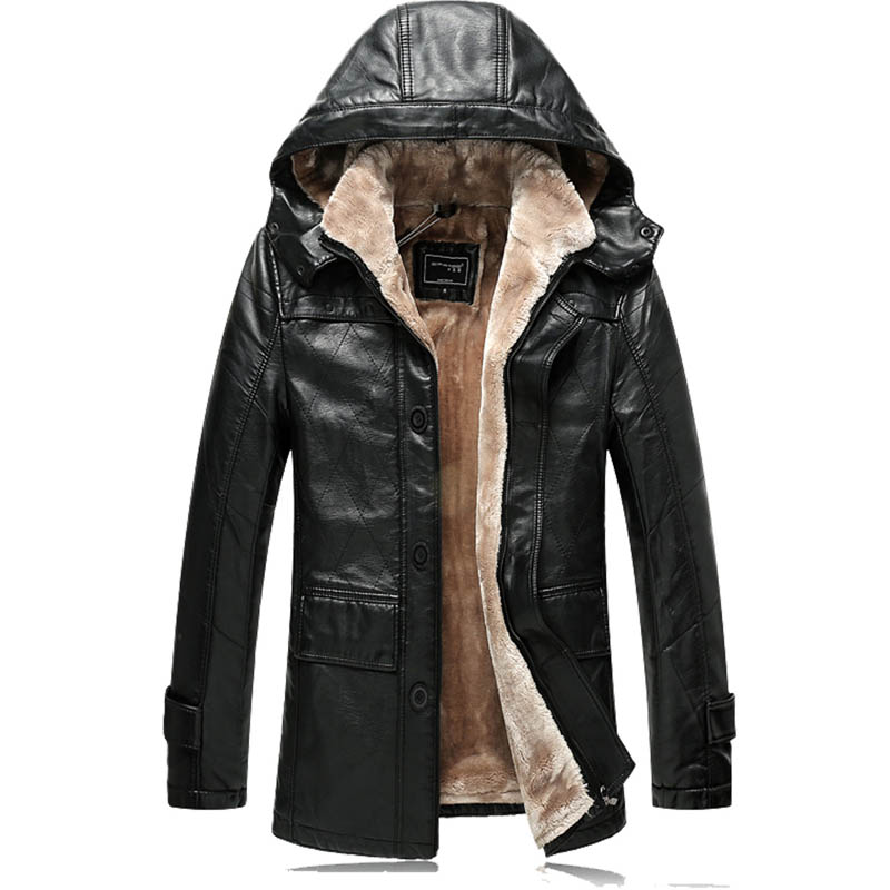 2017 Winter Male Faux Leather Jackets Casual Hooded Warm Thick Faux Fur Lining Men Faux Leather Coat Black Outerwear CT02