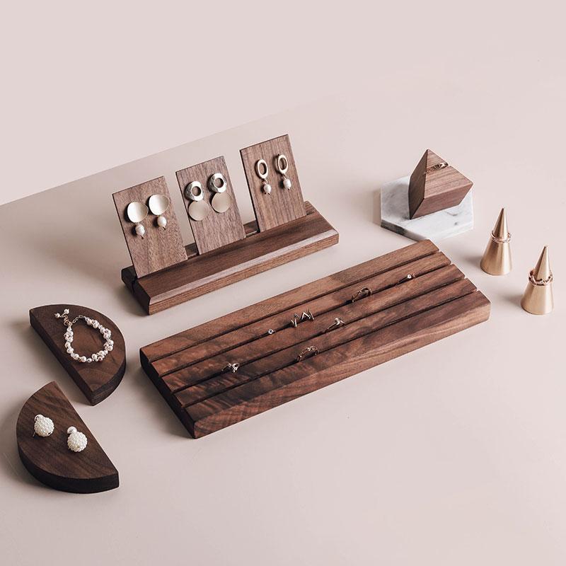Black Waltnut Jewelry Display Ring Tray Solid Wood Jewelry Display Holder Mable Stone Ring Display Stand