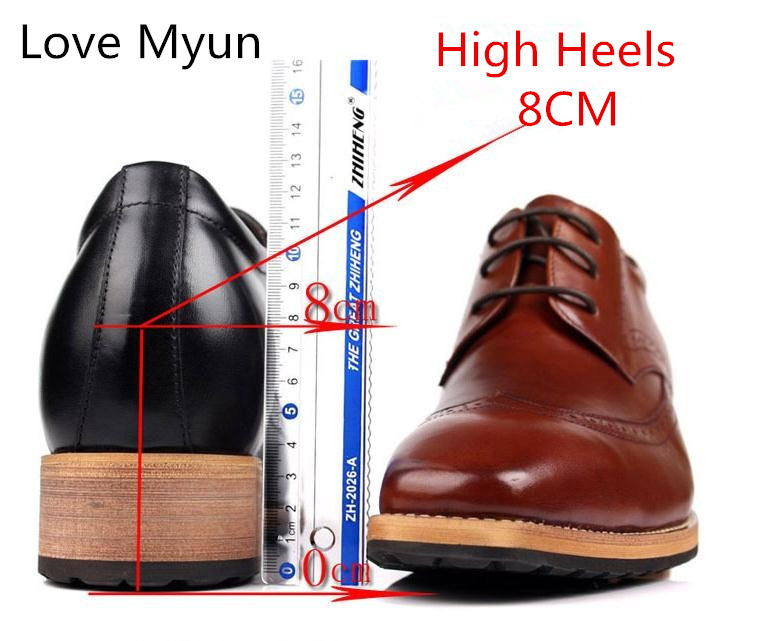 Inside Height Increase Mens Genuine Leather Dress Shoes Square Toe Lace Up High Heel Business Casual Shoes Men Office Work Shoes