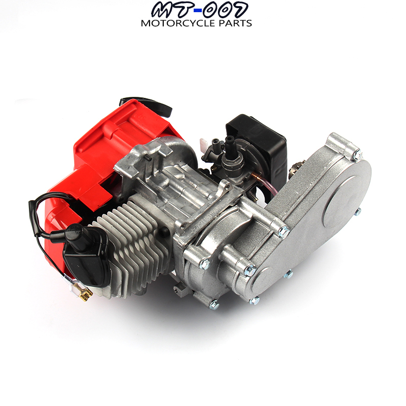 High Performance 49CC 2 Stroke Motor Engine with T8F 14t Gear Box Easy to Start Pocket Bike Mini Dirt Bike Engine DIY Engine 49cc 2 stroke pocket mini dirt bike atv engine with gear box 14t t8f sprocket electric star version handle bar throttle cable