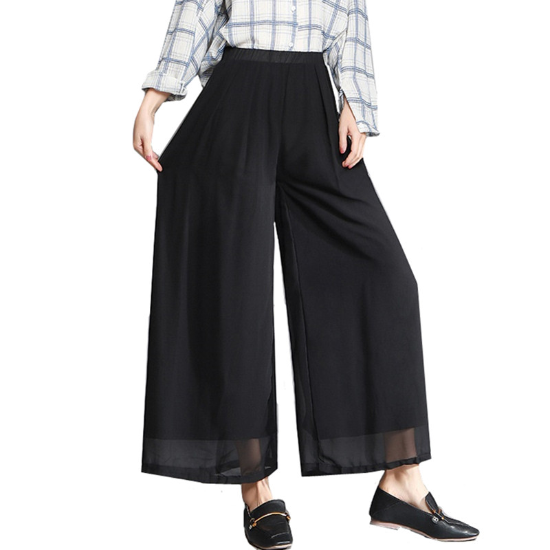 Women's   Wide     leg     pants   2019 Spring Summer Loose High waist   pants   Elegant Slim Black Casual Chiffon Trousers Plus size 5XL 6XL
