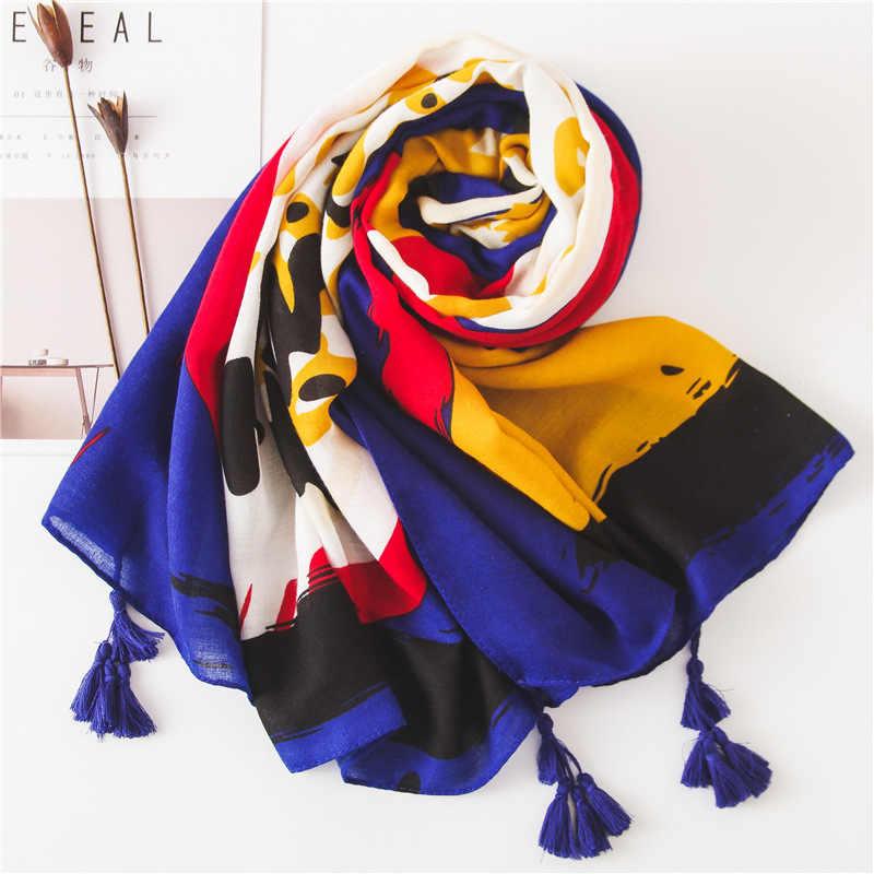Marte & Joven ユニークなグラフィティプリントロングスカーフ女性のファッションソフト秋冬暖かいショールパシュミナエレガントな女性ヒジャーブ