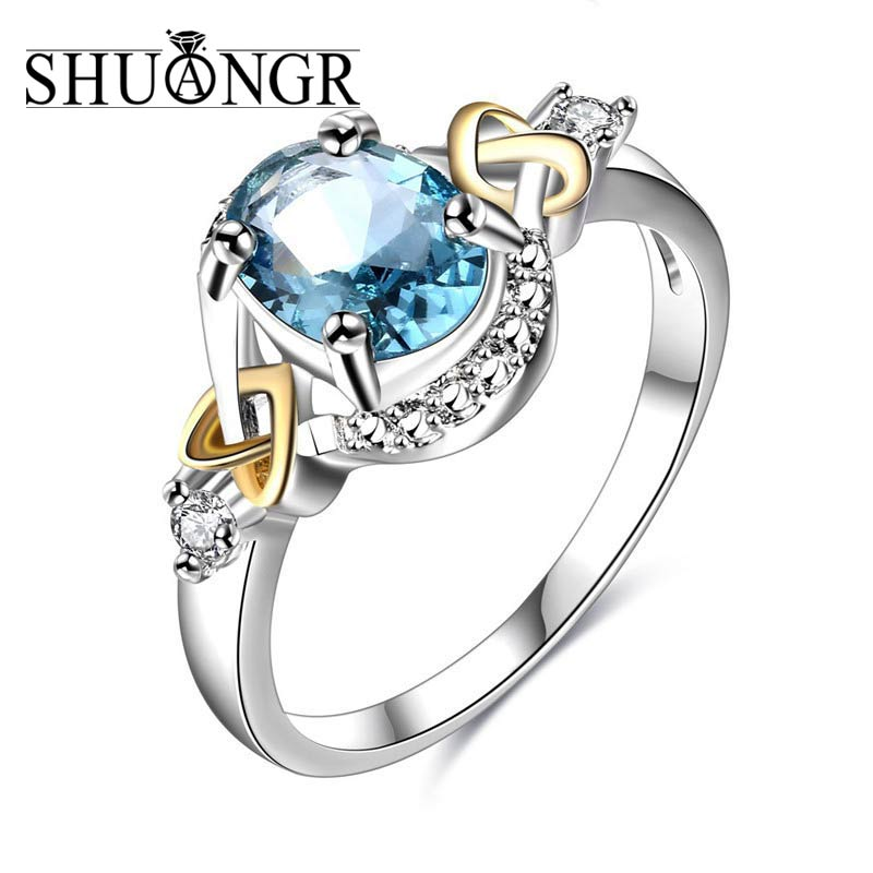 SHUANGR Charm Multicolor Oval Zircon Blue Green Big Crystal Rings For Women Vintage Fashion Silver Birthstone Ring Free Shipping