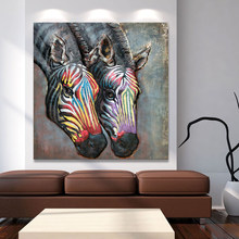 HDARTISAN modern art painting wall art picture abstract colorful zebra print on canvas for home decoration living room no frame(China)