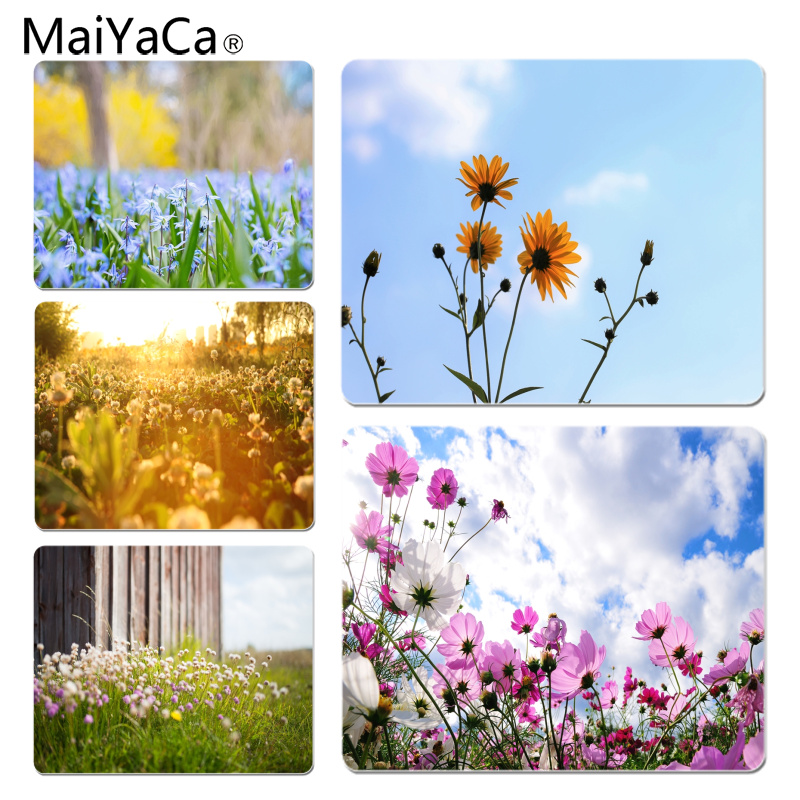 MaiYaCa Hot Sales A Dense White Flowers Customized laptop Gaming mouse pad Size for 18x22cm 25x29cm Rubber Rectangle Mousemats