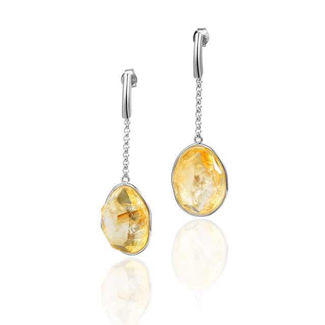 Women S 925 Sterling Silver 24 95carats Dream Natural Citrine Stone Drop Earrings By Dormith