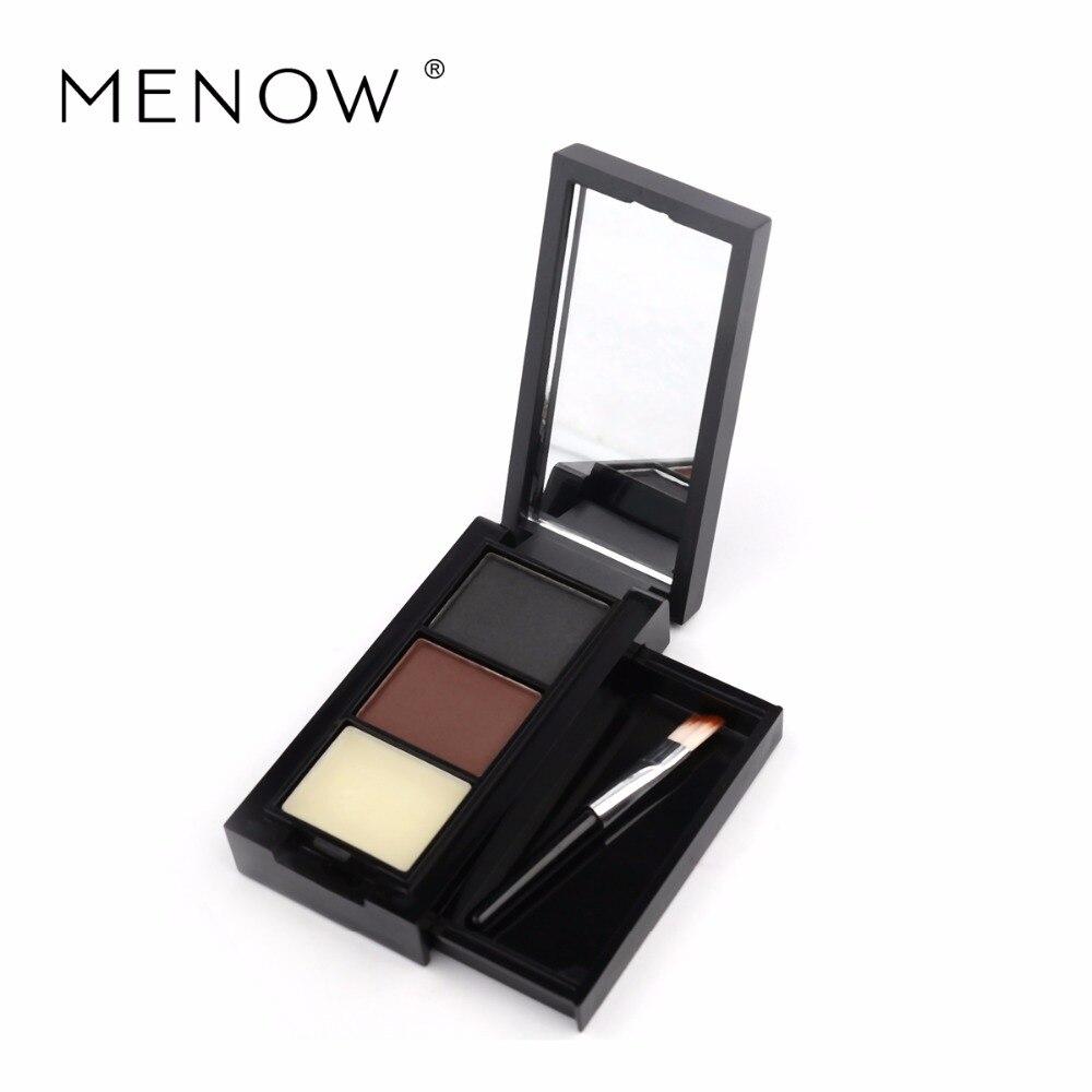 Menow Haute Qualité Brosse À Sourcils avec Naturel Trois Couleurs Poudre À Sourcils Kit Brun et Noir Maquillage Waterproof Cosmétique