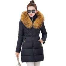 Top Quality New Fashion Winter Jacket Coat Warm Long Women Parka Large Fur Collar Hooded Winter Coat Women Slim Jacket PW0982