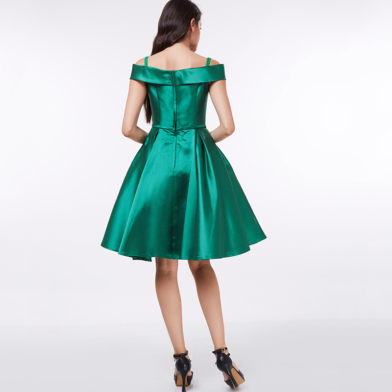Tanpell od ramena koktel haljina tamno zelena koljena duljine line - Haljina za posebne prigode - Foto 3