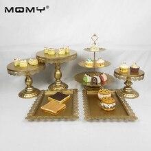 Wedding Cupcake Gold White Pink Dessert Metal Crystal 3 Tier Fruit Plated Cake Stand 6Pcs / Set