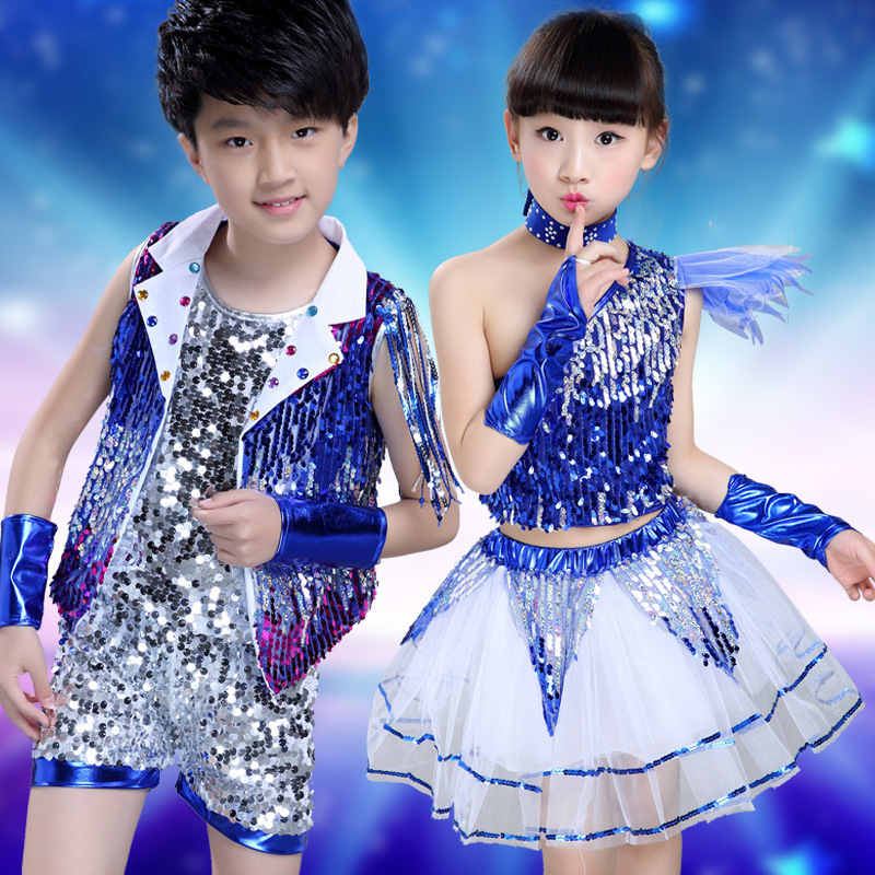 children's performance suits modern jazz hip hop dance girl's and boy's sequins performance stage dance costume JQ-061