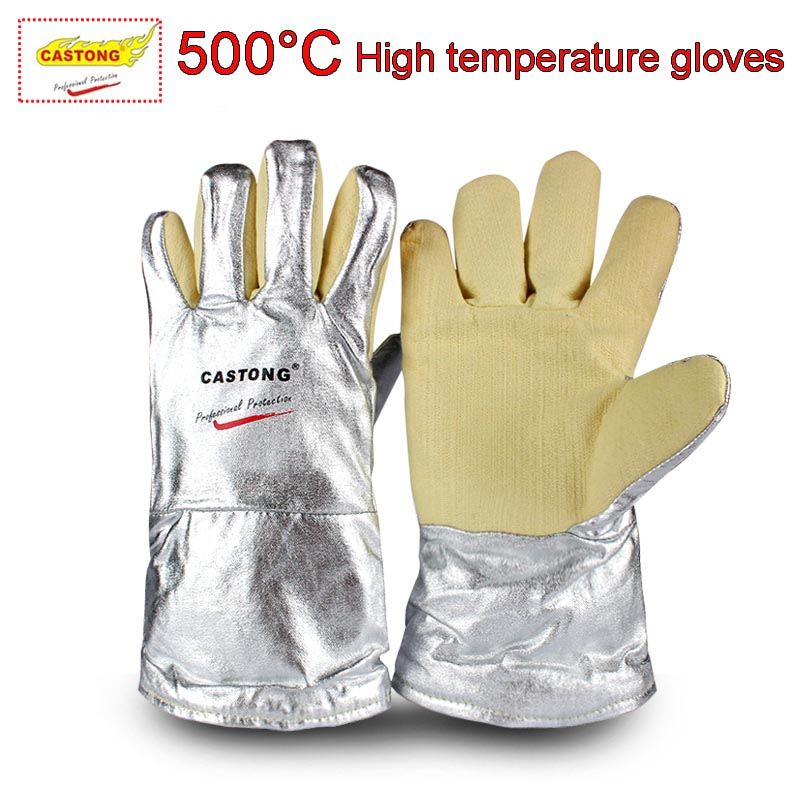 CASTONG 500 degree High temperature gloves Aramid & Aluminum Foil Anti-scald safety gloves High temperature resistant gloves цена