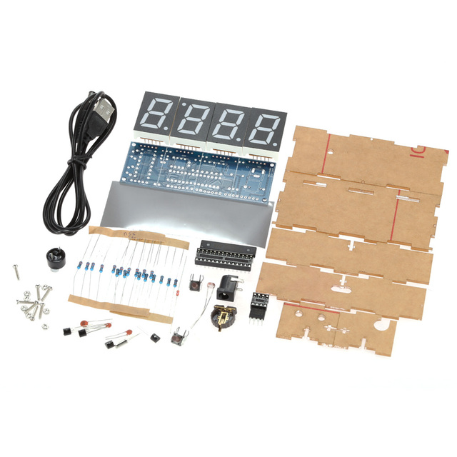 DIY LED Clock Accessories Light Control Temperature Date Time Display with CaseStylish Digital Clock DIY Kit Compact 4-digit