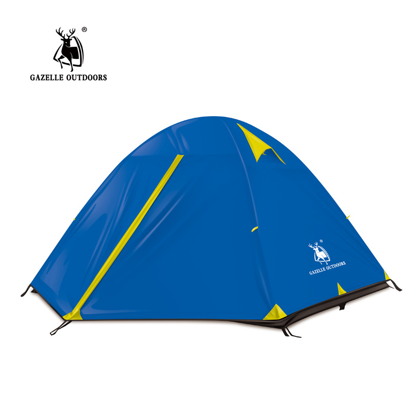 GAZELLE Camping Tents Aluminum Rod Portable Outdoor Tent 3-4 Person waterproof hiking Mountain Double Layer tents gazelle outdoors синий 3 4
