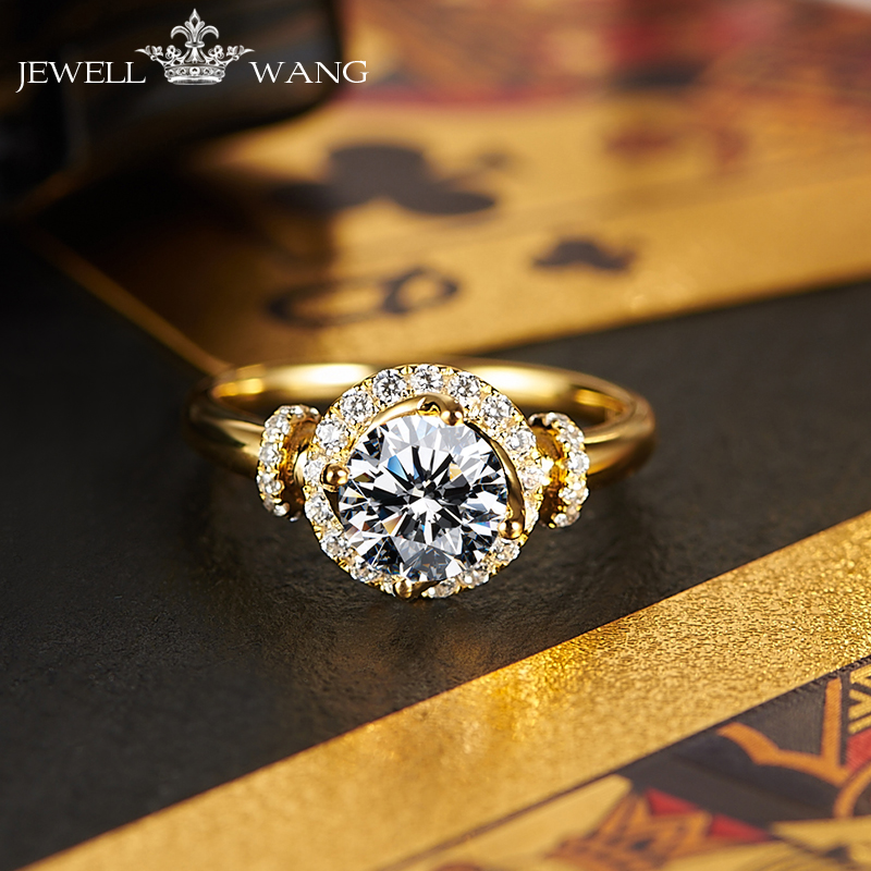 Jewellwang Moissanites Stone Rings for Women Original Design Poker 1.0ct Engagement Ring Certified vvs Classic 18K Yellow Gold