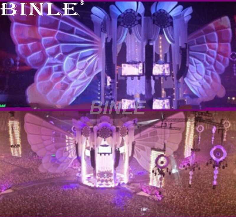 Beautiful big white inflatable butterfly wing for stage decoration