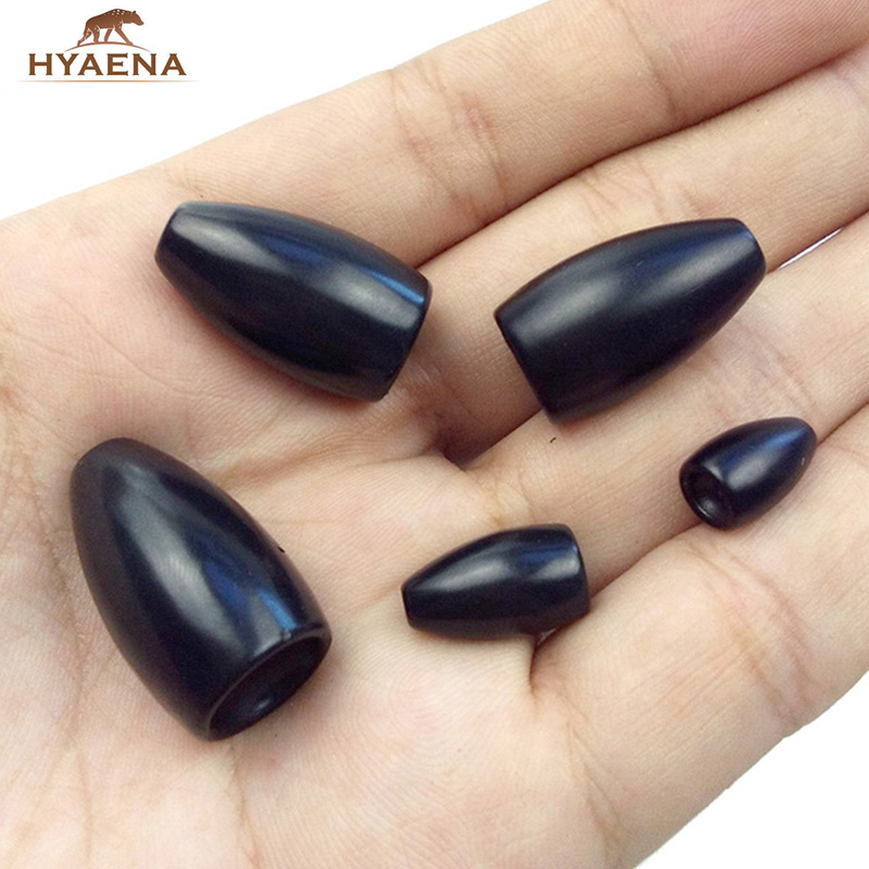 Hyaena 5pcs 100% Tungsten Bullet Fishing Sinker For Texas Rig Black Plastic Worm Weights Casting Bank Sinkers