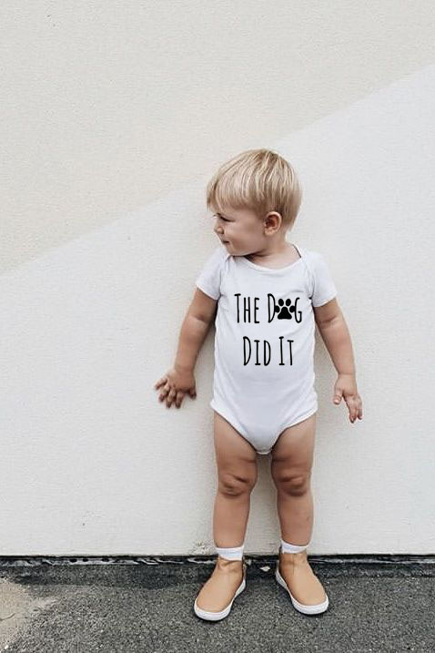 The Dog Did It BABY BOY GIRL BODYSUIT Unisex Infant Summer Clothes Body Suit Short Sleeve Clothing Newborn Outfit Babe Wear