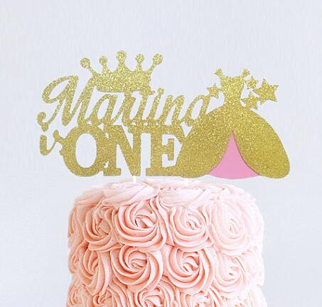 custom name age princess dress crown cake toppers personalized happy