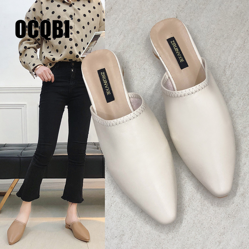 Flats Heel Slippers Women Pointed Toe Mules Women Dress Slides Female High Slippers Ladies Elegant Sandals Mules Ladies Shoes