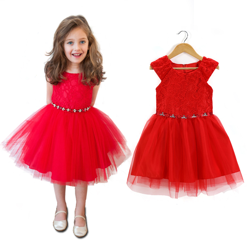 3 8y super fashion red dress sleeveless baby little girl clothes