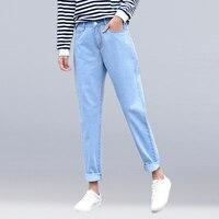 Новые женские 2019 модные брендовые джинсы черные белые синие шаровары потертые джинсовые брюки женские весна лето Свободные повседневные д...