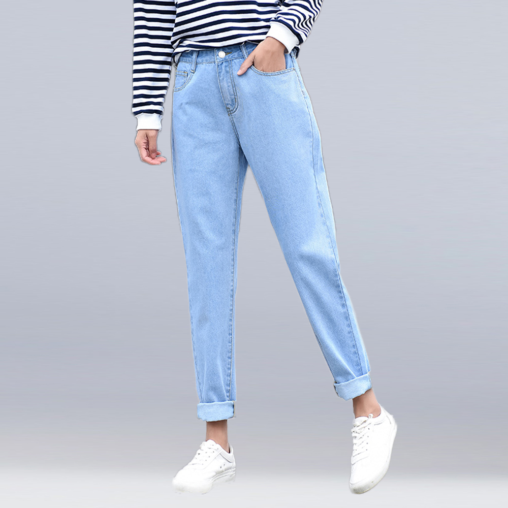 new 2019 fashion brand women jeans black white blue high waist harem pants washed denim pants BF jeans female loose casual jeans