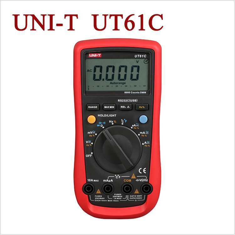 Input Protection Digital Multimeters UNI-T UT61C AC/DC ModernAC DC Meters LCD Backlight & Data Hold Multitester Diagnostic-tools uni t ut30c original authentic data handed hold digital multimeters temperature test