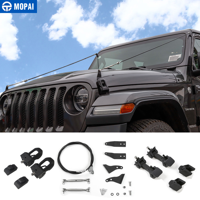 MOPAI Styling Mouldings for Jeep Wrangler JL 2018 Car Hood Latch Lock Obstacle Eliminate Rope for Jeep JL Wrangler Accessories-in Styling Mouldings from Automobiles & Motorcycles