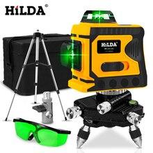 HILDA 360 лазерный уровень 12 линий 3D уровень самонивелирующийся горизонтальный и вертикальный крест супер мощный зеленый лазерный уровень