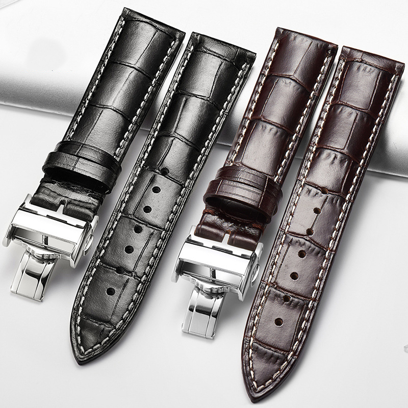AILANG brand Italian cowhide watch belt real leather waterproof calfskin butterfly buckle accessories, real cowhide watch belt цена 2017