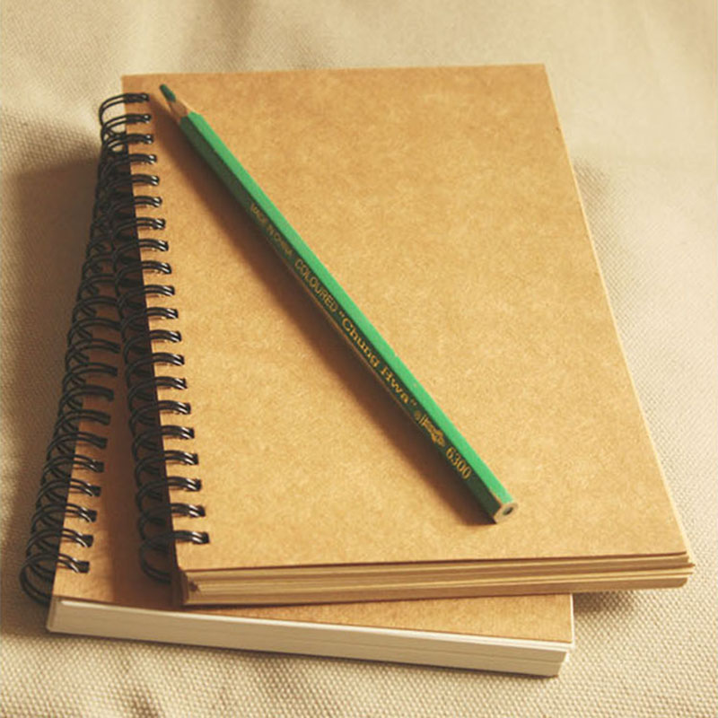 Vintage A5 Kraft Paper Notebook Spiral Coil Daily Handmade Journal Memo Graffiti Blank Sketchbook Notepad Planner Organizer Book