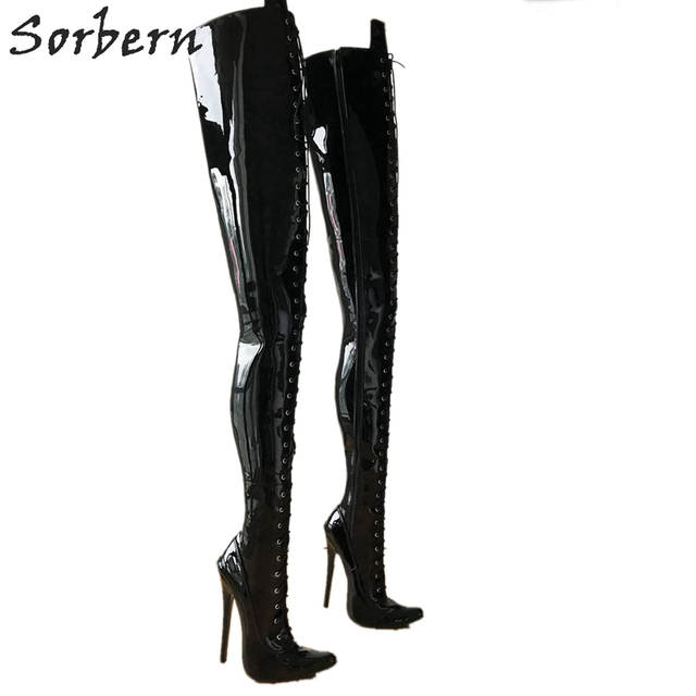 b23145cf29a US $151.2 20% OFF|Sorbern 80Cm Crotch Thigh High Women Boots High Heels  Shoes Ladies Custom Wide Calf Boots 18Cm Stiletto Boots Personalized  Shaft-in ...