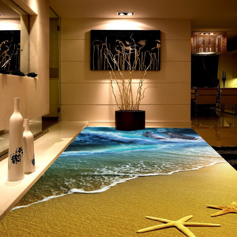 Free Shipping Beach spray 3D dolphin sea floor non-slip living room wallpaper office decoration studio wallpaper mural free shipping sea world dolphin 3d floor thickened wear non slip bedroom living room kitchen flooring wallpaper mural