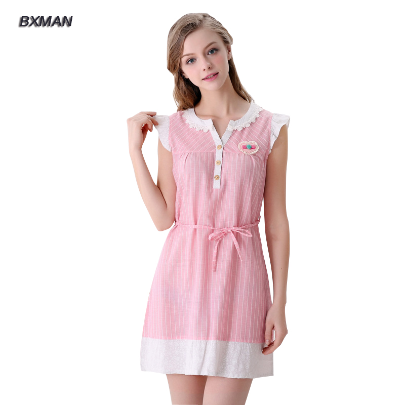 Bxman Brand Women Homewear 100 Cotton Striped Sleeveless Nightgowns Comfortable