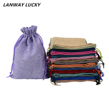 100pcs 13*18 cm Natural Color Jute Bag burlap Drawstring bags Gift Candy Beads Bags for Storage/ Wedding Decor