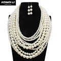 maxi boho necklace multi layer plastic pearl bead statement long collar necklace decorative big necklace women jewelry 6070