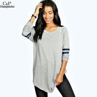 FANALA T Shirts Women 2017 Spring Autumn Long Sleeve Base Ball Long Female T Shirt Casual