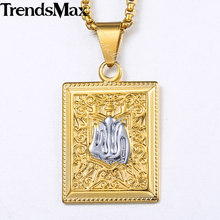 Trendsamx Dog Tag Pendant Neckalces For Women Men Islam Muslim Mens White Yellow Gold Pendants Religious Woman Jewelry KGP313A(Hong Kong,China)