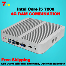 Mini Pc седьмого поколения Intel Core i5 7200U Кабы Lac Win10 Безвентиляторный Mini PC 4 К HTPC Безвентиляторный Nuc Intel HD Graphics 620 Бесплатная Доставка