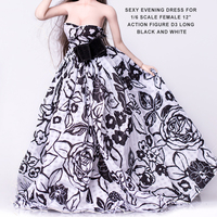 D3 Black With White Mop Long Skirts Sexy Evening Dress For 1 6 Scale Female 12
