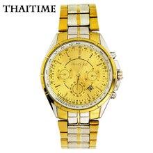 Thaitime Марка Золото и серебро роскошные мужские кварцевые часы полный из нержавеющей стали с Авто Дата Бизнес наручные часы TTM3