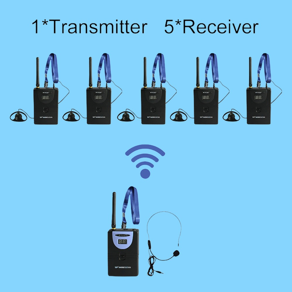 TP Wireless Tour Guide System 1 Transmitter 5 Receiver Microphone Headset audio wireless Simultaneous Church Meeting
