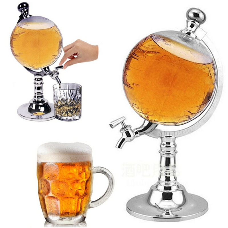 1PCS 1000cc Creative Globe Shaped Beverage Liquor Dispenser Drink Wine Beer Pump Single Canister Pump