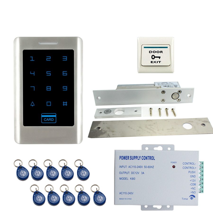 JERUAN FREE SHIPPING Office New Touch Keypad Metal RFID Door Entry Access Control Kit +ELectric Drop Bolt lock+ power In stock raykube glass door access control kit electric bolt lock touch metal rfid reader access control keypad frameless glass door