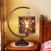 Bohemia Table lights southeast Mediterranean warm bedroom lamp Crystal Lamp Retro pastoral Continental bronze Table Lamps BXY2