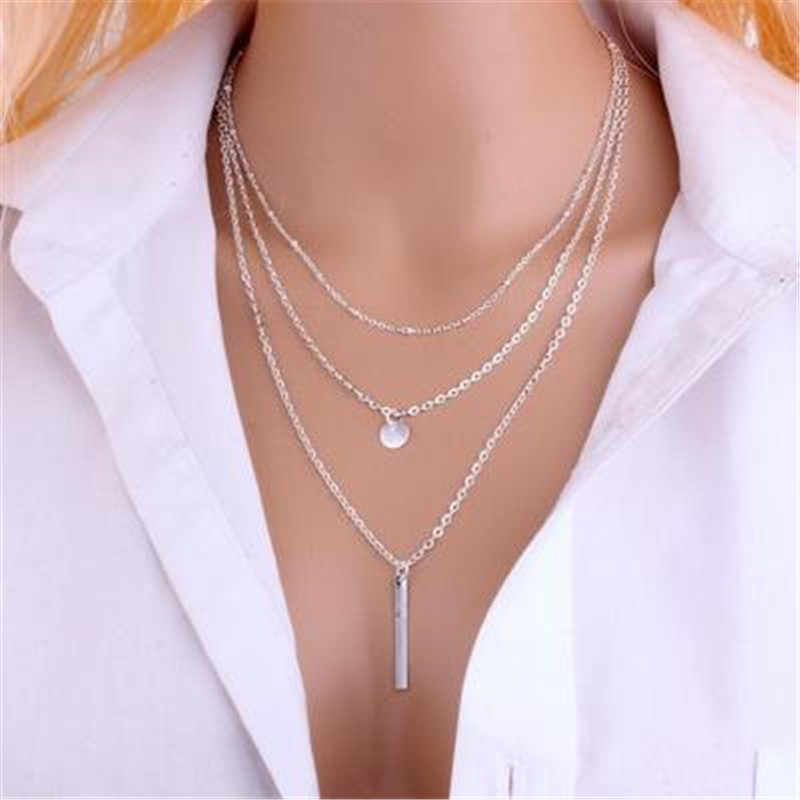 Tassel Jewelry Triple Circles Choker Necklaces for Women Neckless Gold & Silver Long Statement Necklace Female Collier Femme