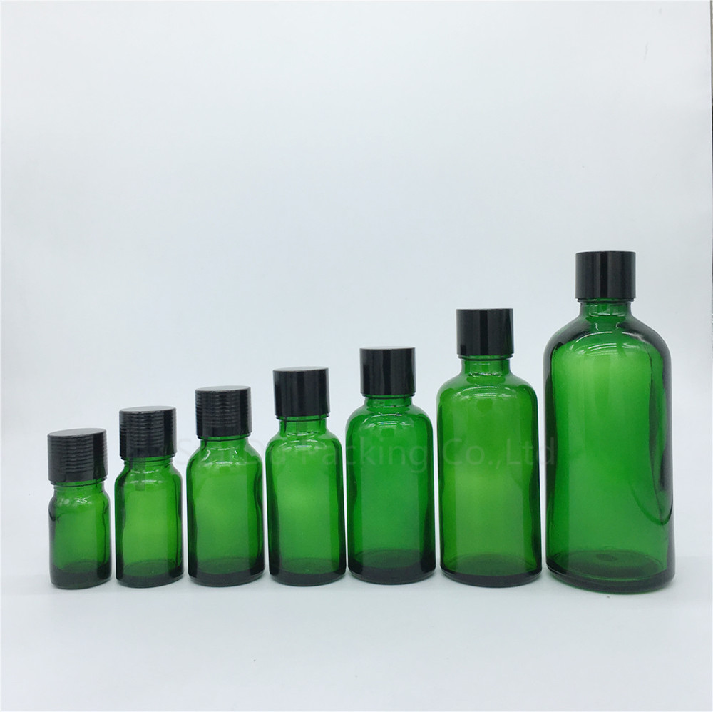 5ml/10ml/15ml/<font><b>20ml</b></font>/30ML/50ml/100ml Green <font><b>Glass</b></font> <font><b>Bottle</b></font> <font><b>Vials</b></font> Essential Oil <font><b>Bottle</b></font> <font><b>with</b></font> black <font><b>screw</b></font> <font><b>cap</b></font> Perfume <font><b>bottle</b></font> image