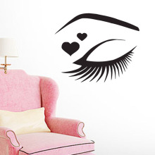 Beautiful GirlS Eye Outline Wall Stickers Decorative Beauty Salon Decals Vinyl Removable Eyelashes Makeup Art Sticker
