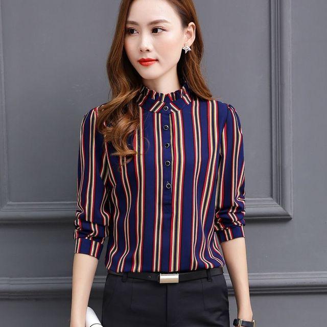 Women Blouses 2021 Autumn Fashion Long Sleeve Stand Collar  Chiffon Blouse Shirt Casual Tops Plus Size 4XL Blusas Femininas 3